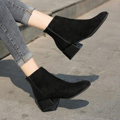Plus Size Women Ankle Boots Faux Suede Chunky Heels Black Basic Boot botas mujer Zip Patchwork Winter Shoes zapatos mujer N7865