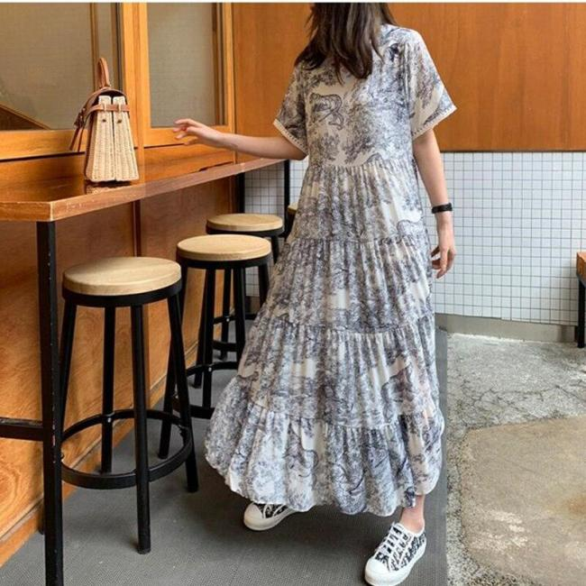 Plus Size 4XL Women Dress 2020 Summer O-Neck Ladies VestidosPrint Animal Female Robe Short Sleeve Chiffon Loose  White Dresses