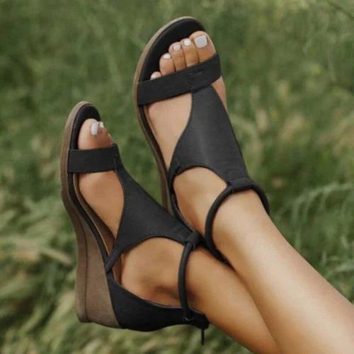 2020 Women Summer Sandals Med Heels Wedges Shoes Woman vintage PU Leather Plus Size Gladiator Sandals