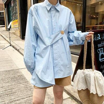 Summer Spring 2020 Japan Korean Women Fashion Chic Style Full Rivet Solid Lantern Sleeve Fashion High Street Shirts