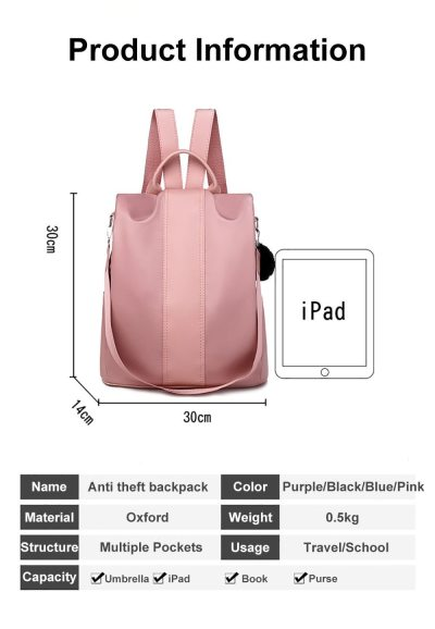 Women Waterproof Travel Backpack Bags Oxford Anti Theft School Bagpack For Girls Female Large Capacity Backpack Ladies Bags
