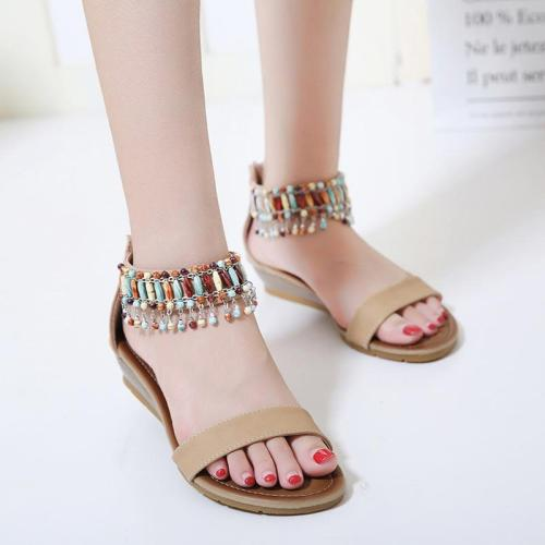 Women sandals 2020 fashion Roman ethnic style summer shoes woman solid color hanging bead wedge sandals women shoes plus size