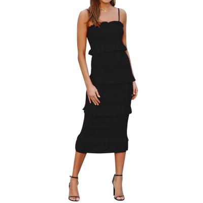 Cake Women Dress Ruffle Spaghetti Strap Summer Midi Dress For Ladies Fashion Office Ol Work Wear Sleeveless Female Dress D30