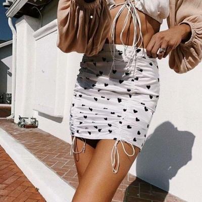 Foridol heart boho skirt women high waist beach skirts bottoms 2020 summer new white black streetwear bodycon mini skirt