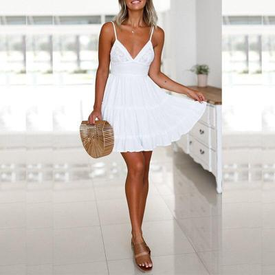 Summer Women Beach Dress Spaghetti Strap Dresses Women Deep V-Neck Solid Color Back Bowknot Beach Sundress