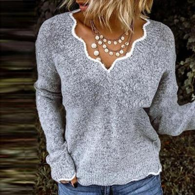 Lace Flaky clouds V-Neck Sweater 2020 Spring Women New Autumn Winter Sweater Hot Sale Simple Casual Full Fleece Warm Clothes