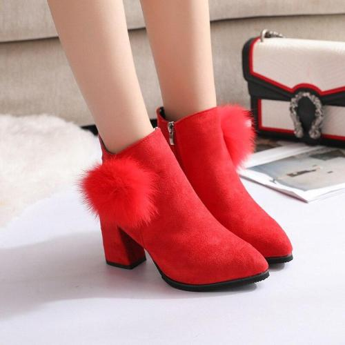 Plus Size 35-42 Women Boots Faux Fur Ankle Boots For Woman Snow Shoes High Heels botas mujer Fashion Bare Boots N7746