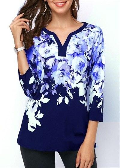 Plus size 4xl 5xl 2020 Women New summer Boho Print Flower Tops Three-Quarter Sleeve V-Neck T Shirt Female Casual Tee Shirt