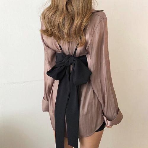 Spring Autumn Korean Retro Fashion Mid-length Shirts Blouses+back Large Bow Chest Vest Two Piece Sets Women New Streetwear 2020