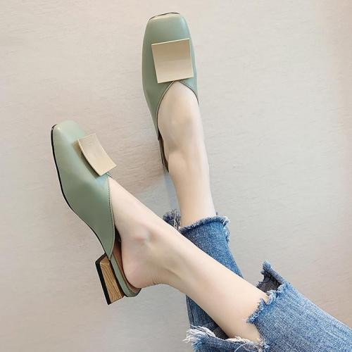 Woman Casual Solid Slippers Ladies Mules Elegant Women Comfortable Female Classic Square Toe Slides Women's Footwear 2020