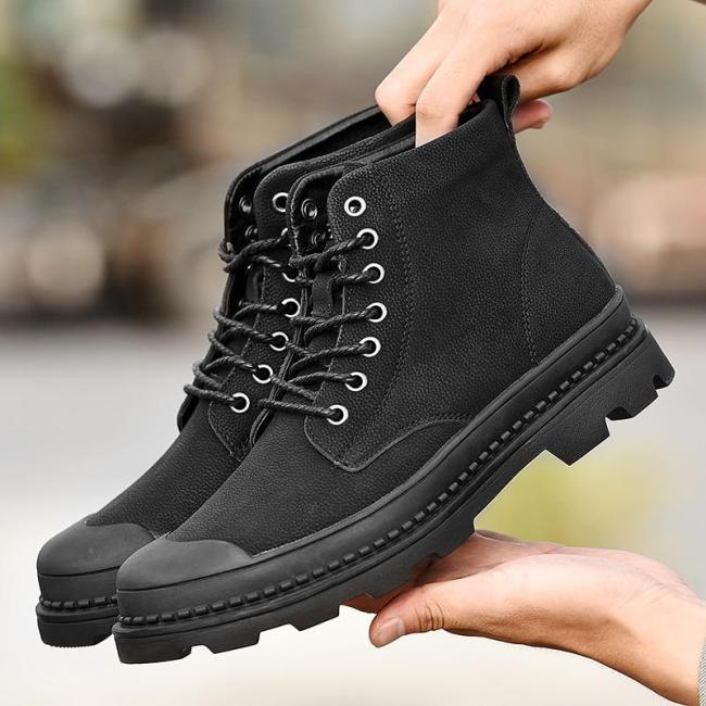 UPUPER New Winter Boots Men Genuine Leather Ankle Boots Men Comfort Warm Winter Shoes Men Work Snow Military Boots For Men Botas