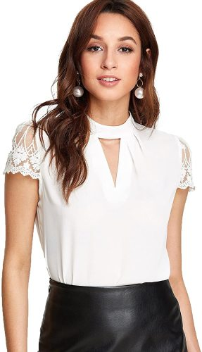 Women's Elegant Lace Short Sleeve Sexy Keyhole Blouse Shirt
