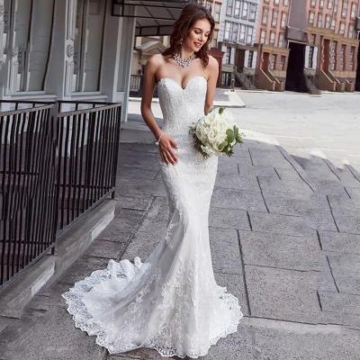 Eightree Mermaid Wedding Dress Strapless Appliques Lace Boho Wedding Gowns vestido de novia Backless 2020 Bride Dress Turkey