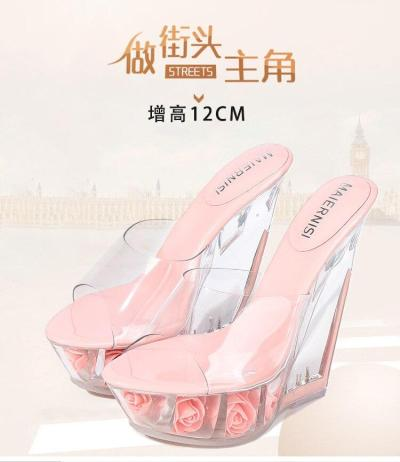 14CM Super High Heel Summer Ladies Sandals PVC Transparent Platform Wedge Flower Pumps Simple Temperament Women High Heel Shoes