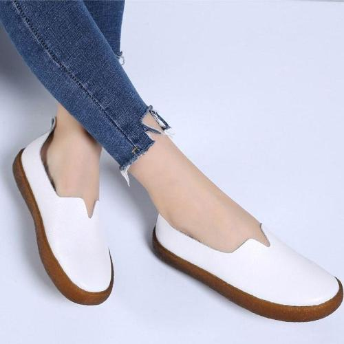 Casual shoes women  & sneakers flats 2019 genuine leather solid flats casual shoes woman slip-on sneakers women shoes plus size