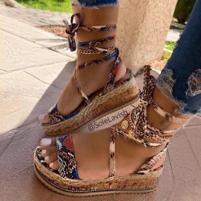 New Summer Women Sandals Woman Flats Fashion Roman Style Lace-Up Open Toe Platform Women's Shoes Zapatos De Mujer Large Size 43
