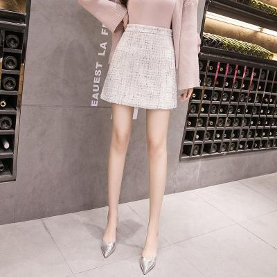 Tweed Half-length Skirt for Women In Autumn Spring 2020 New Korean White Black Chic Short Skirt with High Waist Hip