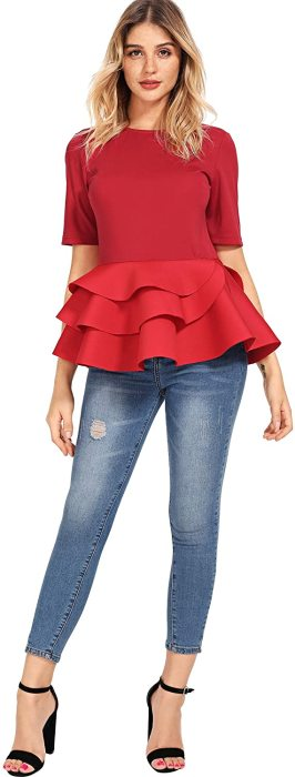 Romwe Women's Vintage Layered Ruffle Hem Slim Fit Round Neck Peplum Blouse