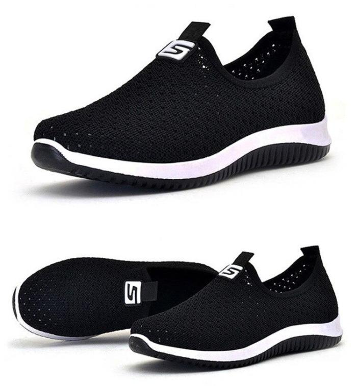 Flat shoes women Flying weaving Mesh shoes Breathable Sneakers women slip on soft Shoes woman Ladies shoes Platform loafer