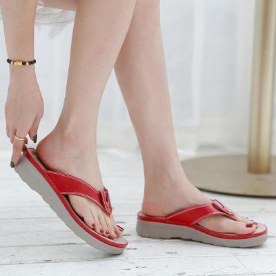 Woman Solid Slippers Women Slides Wedges Sewing Metal Flip Flops Women's Female Beach Shoes Ladies Fashion Non Slip Plus Size 42
