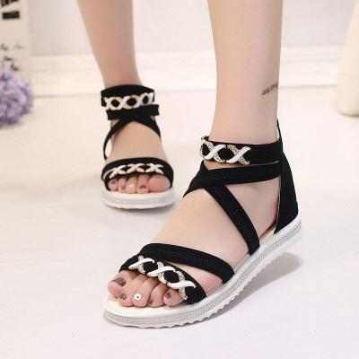 Women Rome Sandals 2020 Summer Flat Shoes Woman Gladiator Style Fashion Platform Sandal Back Zipper Female Student Footwear
