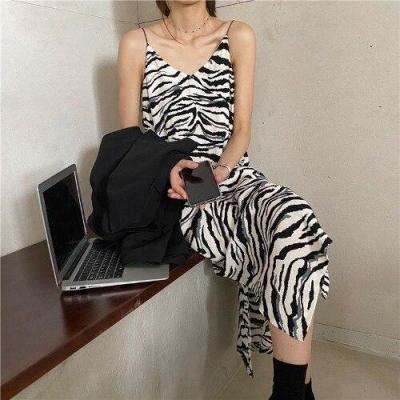 Autumn Summer Women Dresses French Casual Split Retro Zebra-Stripe Print Dress Office Lady Slim V-neck Strap Long Dress Vestido