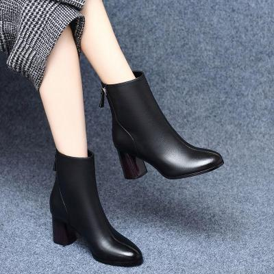 Plus Size 35-42 Winter Shoes Female Black Boots Back Zip Ankle Boots High Heels Dress Shoes Woman botas mujer zapatos mujer 7869