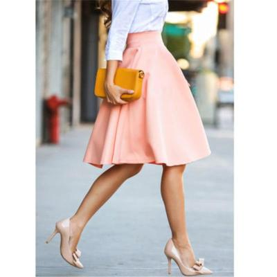 Solid Color Skirts Womens Midi Loose Skirts Pink Skirt Womens 2020 New Spring Summer Korean Style Elastic High Waist Midi Skirts