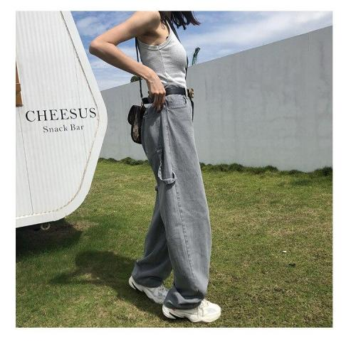 Spring Korean New Denim High-waisted Loose Casual Pockets Gray Washed Retro Harem Jeans Long Pants Women Fashion Streetwear 2020