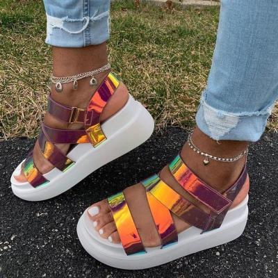 2020 New Ladies Platform Sandals Colorful Wedges Summer Comfortable Sandals Women Gladiator Shoes Woman Big Size 36-43