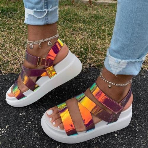 2020 New Ladies Platform Sandals Colorful Wedges Summer Comfortable Sandals Women Gladiator Shoes Woman Big Size 36-43