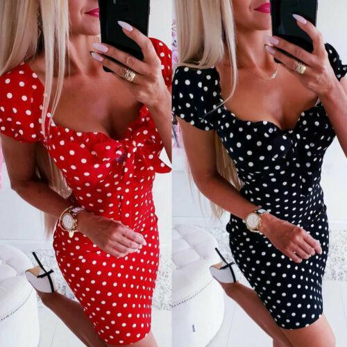 Women's one-piece pajamas home service Summer Dress Women Girl Boho Polka Dot Sexy Bodycon Dress  Holiday Sundress Beachwear New
