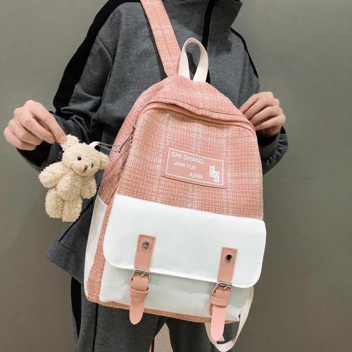 Student Female Cute Backpack Linen Women Fashion School Bag Harajuku Girl Kawaii Backpack Canvas Lattice Ladies Bag Doll Pendant