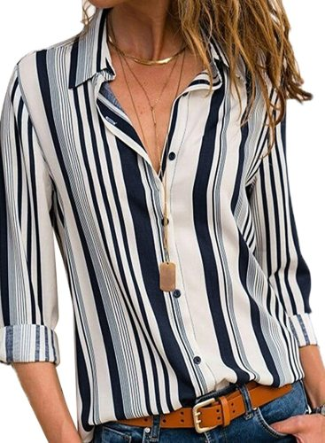 Women Casual Striped V Neck Collared Roll Up Long Sleeve Button Down Tee Shirts Tops S-XXL