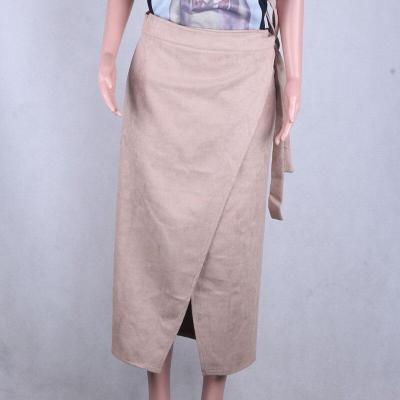 Foridol faux suede long skirt high waist sash a-line skirt streetwear vintage asymmetrical skirt autumn winter khaki maxi skirt