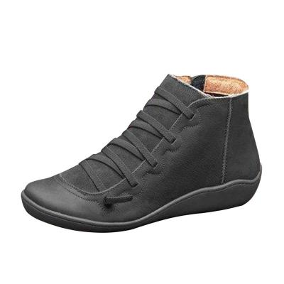 Dropship Boots 2020 Autumn Winter Retro Punk Women Boots Fashion Genuine Leather Ankle Boots Zapatos De Mujer Wram Botas Mujer