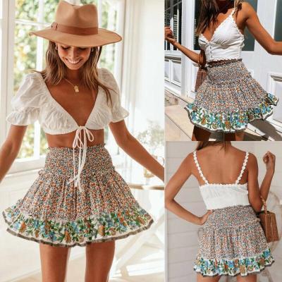 Women's High Waist Boho Short Mini Dress Floral Printed Ruffles Sexy Casual Skirt Beach A Line Skirts