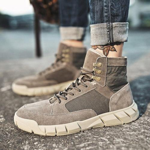 Autumn Winter Men's Casual Boots Classic Fashion Cow Suede Ankle Boots For Men Vintage Snow Boots Work Shoes Plus Velvet Warm