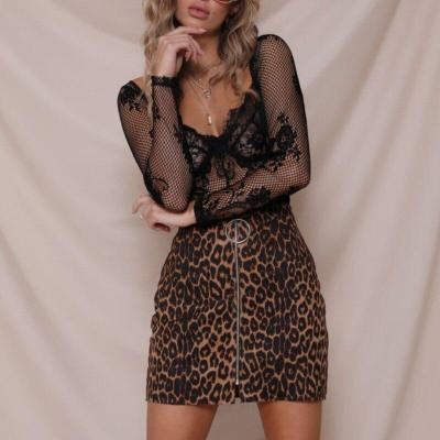 hirigin Women's Leopard Printed Zipper Fashion Sexy Short Skirt High Waist Pencil Bodycon Evening Party Hip Mini Skirts
