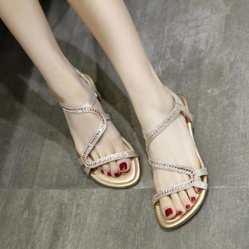 Summer shoes woman 2020 fashion crystal wedge women sandals solid color comfortable elastic band sandals women shoes plus size