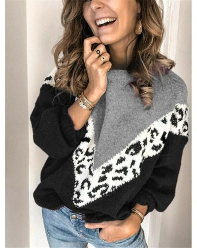 High Quality Fashion Casual Women's Clothing Female Patchwork Color O-Neck Long Sleeved Knitted Sweater Women Soft Pullovers