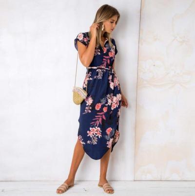 Women Dress 2020 Sexy  V collar  block  printing  Medium and long term Summer Autumn Female  Dress