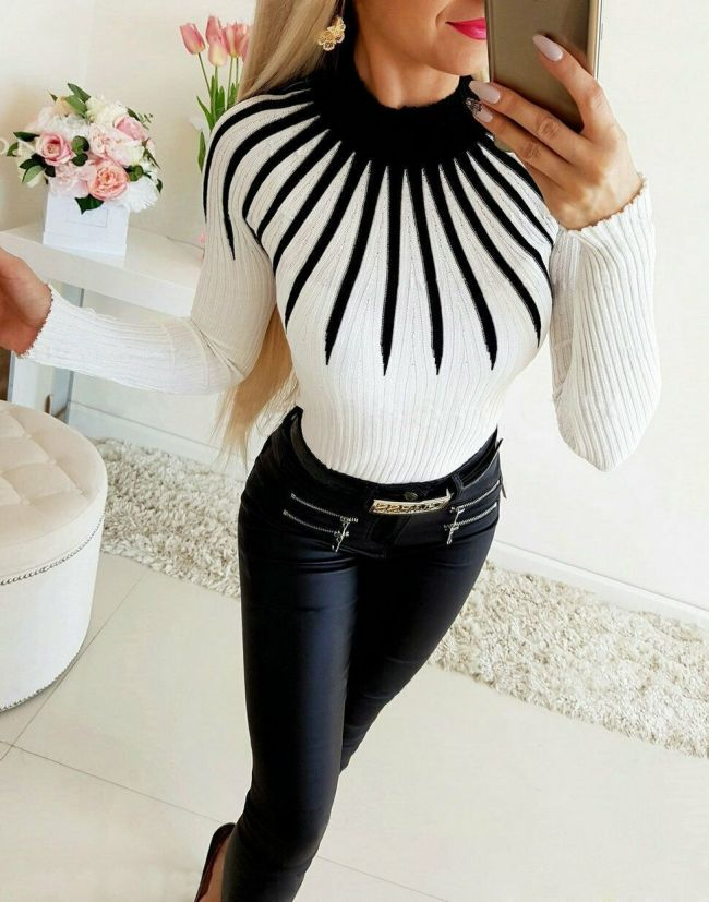 2020 New Women Warm Winter Sweater Long Sleeve Tight Fit Casual Print Color Matching Turtleneck Sweater Ladies Vintage Sweaters