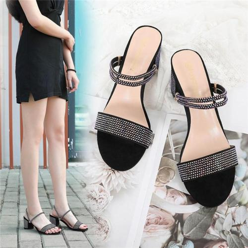 2020 New rhinestone sandals, medium heel, thick heel, cross-border shoes, dual-use Roman women's shoes