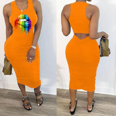Sexy Bodycon Dress For Women Vestidos Big Lips Sheath Dresses Streetwear Ladies Club Party Dress 2020 Summer Sundress Femme D30