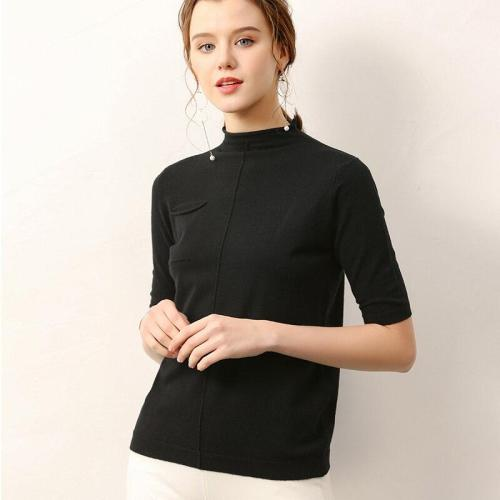 female knitting sweater half sleeves summer women's short pollover spring core yarn fashion soft tops
