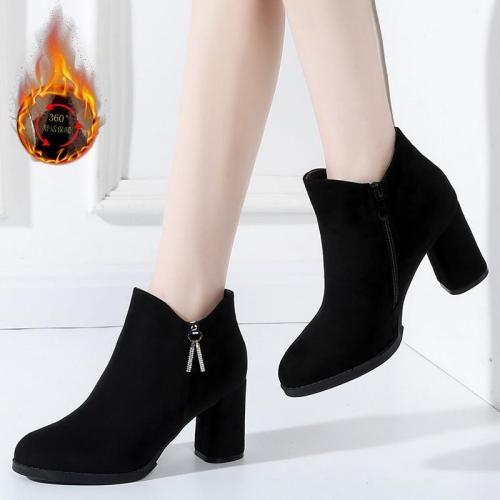 2020 Women Ankle Boots Metal decoration Fashion Ladies Square Heels Flock Shoes Slip-On Ankle Shoes Bota Femenina B228