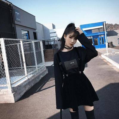 Clip Velvet Strap Skirts Women Gothic Harajuku Spring Summer Mini Skirts Korean Short Skirts Sexy A-Line School Skirt Black 2019