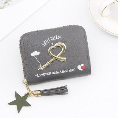 Wallet Female PU Coin Purse Clasps Small Wallet Purse Love Heart Sequins Women Short Purse PU Leather Money Wallet Card Holder