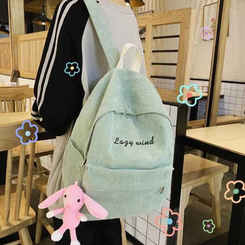 Stripe Female Corduroy Backpack kawaii Women School Bag Embroidery Letter Girl Cute Backpack Harajuku Fashion Ladies Bag Student